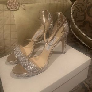 JIMMY CHOO glitter sandals, Size 39